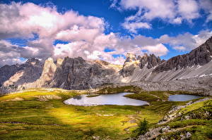 Обои Италия Гора Озеро Пейзаж Облачно Альпы HDR Dolomites