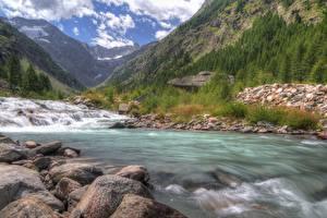 Картинки Италия Речка Гора Камень Парк HDRI Valle d'aosta, Gran Paradiso national Park Природа