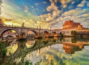 Фотография Италия Рим Речка Мост Замки Небо Отражается Облака HDR Castel Sant'Angelo Города