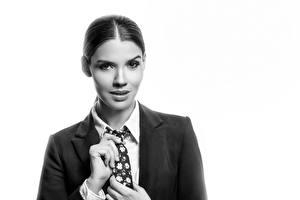 Фотографии Модель Смотрят Пиджак Галстук Черно белые Karol молодые женщины