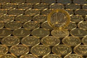 Обои Много Монеты Деньги Рубли 10