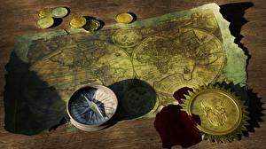 Фотография Деньги Монеты Географическая карта Старые Компас