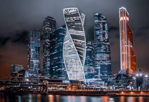 Картинка Москва Россия Небоскребы Здания Ночные Moscow City