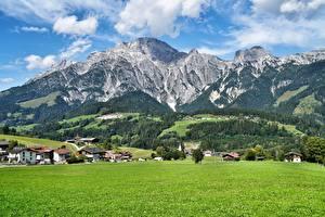 Обои Горы Луга Пейзаж Австрия Зальцбург Село Leogang