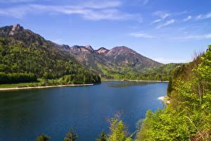 Фотографии Гора Озеро Пейзаж Австрия Schwarzensee