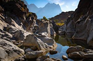 Фотография Гора Камень Утес Oman, Snake Canyon Природа