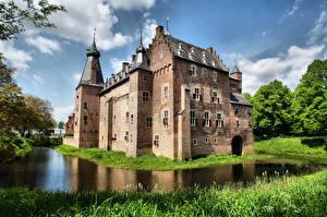 Фотография Голландия Замок Пруд Castle Doorwerth, Gelderland Города