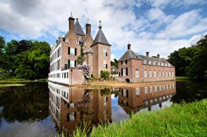Фото Нидерланды Замки Пруд Башни Castle Renswoude, Utrecht город