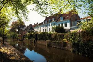 Фотография Нидерланды Дома Водный канал Дерева Amersfoort