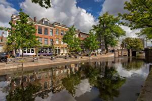 Фотография Голландия Дома Деревья Отражении Водный канал Bierkade, Hague Города