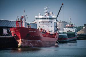 Обои Нидерланды Причалы Корабль Танкер Vlissingen, Else Marie Theresa