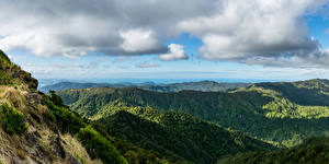 Картинки Новая Зеландия Гора Небо Облачно Природа