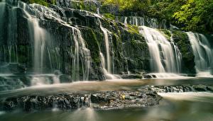 Фотография Новая Зеландия Речка Водопады Камни Purakaunui River, Purakanui Falls Природа