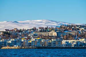 Фотографии Норвегия Гора Здания Снега Tromso Города
