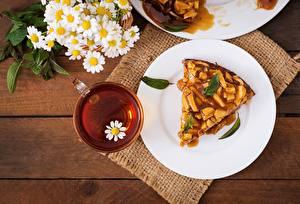 Картинки Пирог Чай Ромашки Тарелка