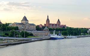Фотографии Польша Рассветы и закаты Реки Речные суда Stettin
