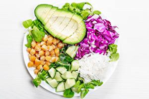 Картинка Рис Авокадо Овощи Тарелка Зерно Еда