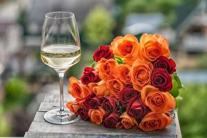 Фотографии Роза Букет Бокал цветок