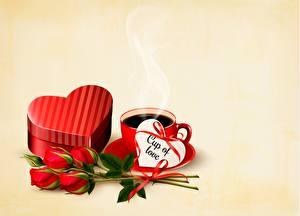 Обои Розы Кофе День всех влюблённых Шаблон поздравительной открытки Сердце Чашке Цветной фон цветок