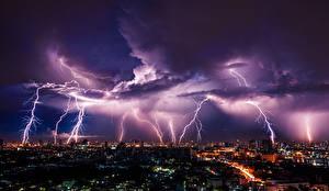 Фото Небо Стихия Ночь Молния Облака Мегаполис Природа