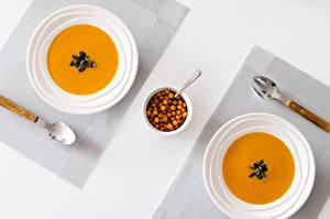 Обои Супы Накрытия стола Тарелка Ложки Еда