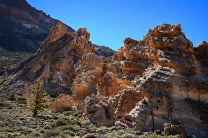 Обои Испания Горы Скале Teide National Park, Tenerife Природа