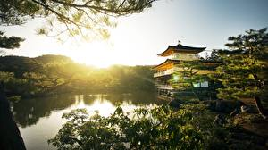Обои для рабочего стола Рассветы и закаты Парки Храмы Киото Япония Kinkaku-JI город