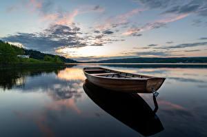 Фотографии Швеция Озеро Утро Лодки Sjöbo, Öresjö Природа