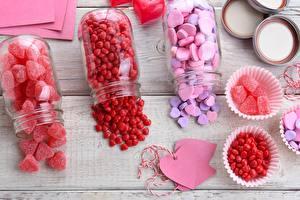 Картинки Сладкая еда Мармелад День святого Валентина Банки Сердца Еда