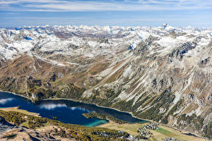 Фото Швейцария Горы Озеро Альп Сверху Природа