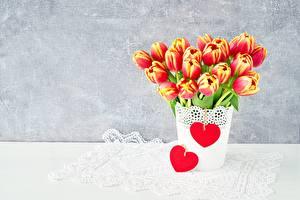 Фотография Тюльпан Сердечко Шаблон поздравительной открытки Цветы