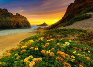 Картинка Штаты Побережье Вечер Рассветы и закаты Калифорнии Скалы HDR Природа