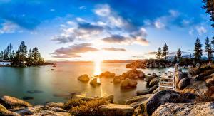 Фотографии США Озеро Камни Рассвет и закат Деревья Облака Скамья Lake Tahoe Природа