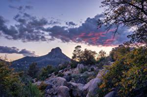 Картинка США Гора Камень Небо Скале Деревья Облака Prescott, Arizona Природа
