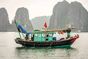 Фото Вьетнам Море Лодки Речные суда Утес Hạ Long Bay Природа