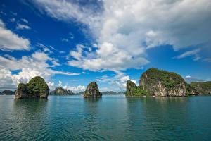 Фотография Вьетнам Море Небо Утес Облака Залива Ha Long Bay Природа
