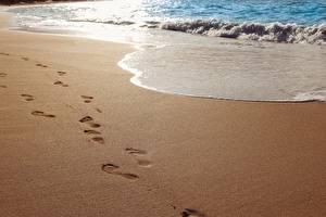 Картинки Волны Море Пляжа Песок Следы