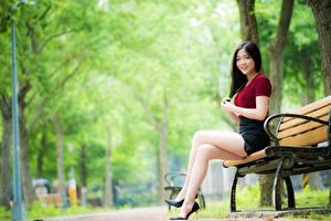 Фото Азиатки Скамья Размытый фон Брюнеток Улыбается Руки Сидя Ноги Туфлях молодая женщина