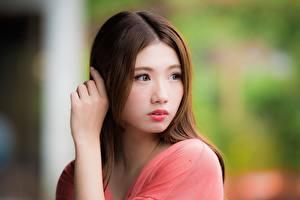 Картинки Азиатка Боке Шатенки Смотрит Руки Девушки