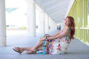 Картинки Азиатки Шатенки Платья Сидящие Рука Ног девушка