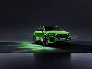 Обои для рабочего стола Ауди Спереди Зеленая RS Q8 Автомобили