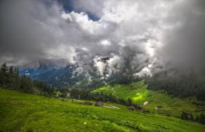 Картинка Австрия Горы Луга Долина Облако Tyrol, Zillertal
