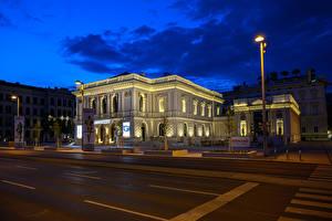 Фотографии Австрия Вена Здания Улиц Ночь Уличные фонари город