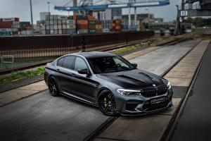 Обои BMW Черный M5 Manhart V8 F90 2019 MH5 Автомобили
