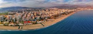 Фотография Побережье Дома Испания Море Сверху Пляж Andalusia, Mediterranean Sea, Torre del Mar Города