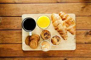 Обои Круассан Сок Кекс Кофе Завтрак Продукты питания