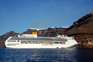 Фотография Круизный лайнер Море Греция Сбоку Белый Costa Victoria, Santorini