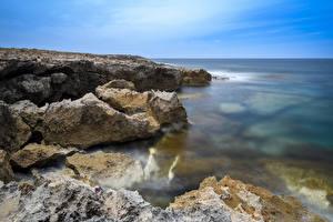 Фотография Республика Кипр Побережье Море Скала Peyia Природа