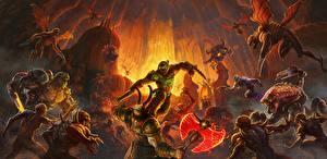 Картинки Doom Чудовище Сражения Eternal, DoomGuy