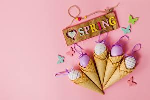 Обои Пасха Весна Яйца Английский Слово - Надпись Розовый фон Автомобили картинки